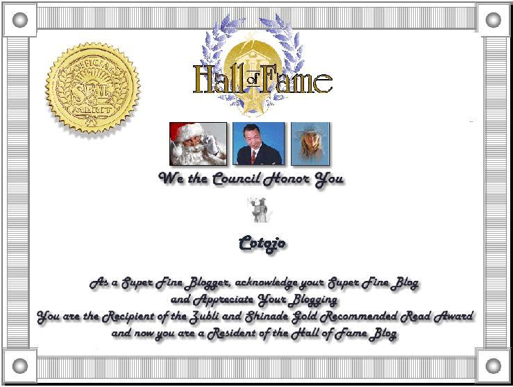 Hall of Fame Permanent Resident Certificate